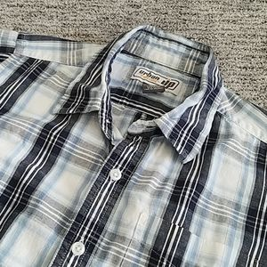 EUC Urban Pipeline UP Blue Plaid Button Up Boys